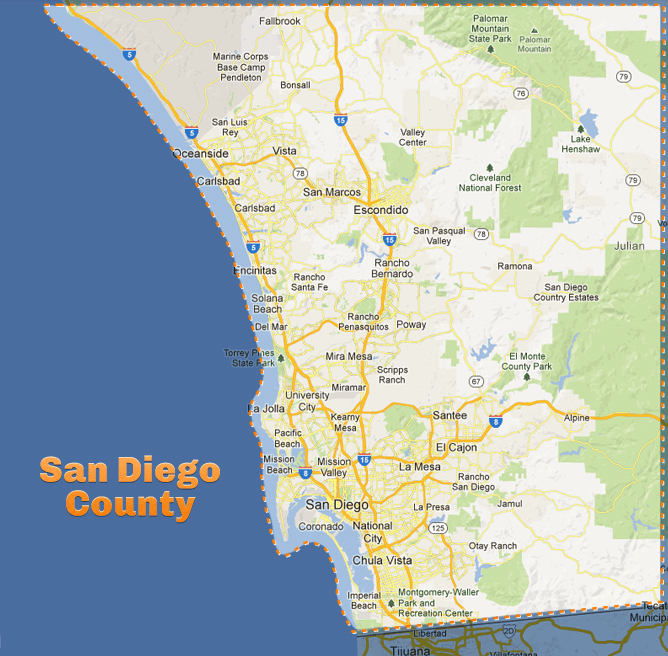 printable map of san diego county Big Box Storage Portable Storage Service Areas